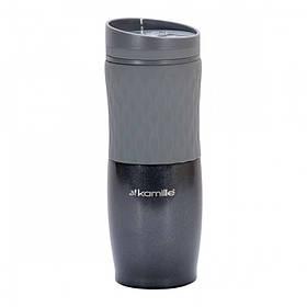 Чашка-термос 500 мл Kamille из нержавеющей стали с TPR вставкой серый КМ-2047