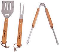 """Набор для гриля Kamille """"Скаут"""" 3 предмета с деревянными ручками"""