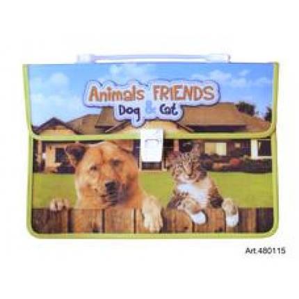Портфель ПОЛІМЕР 480115 А4 з ручкою Тварини-друзі (1/10), фото 2