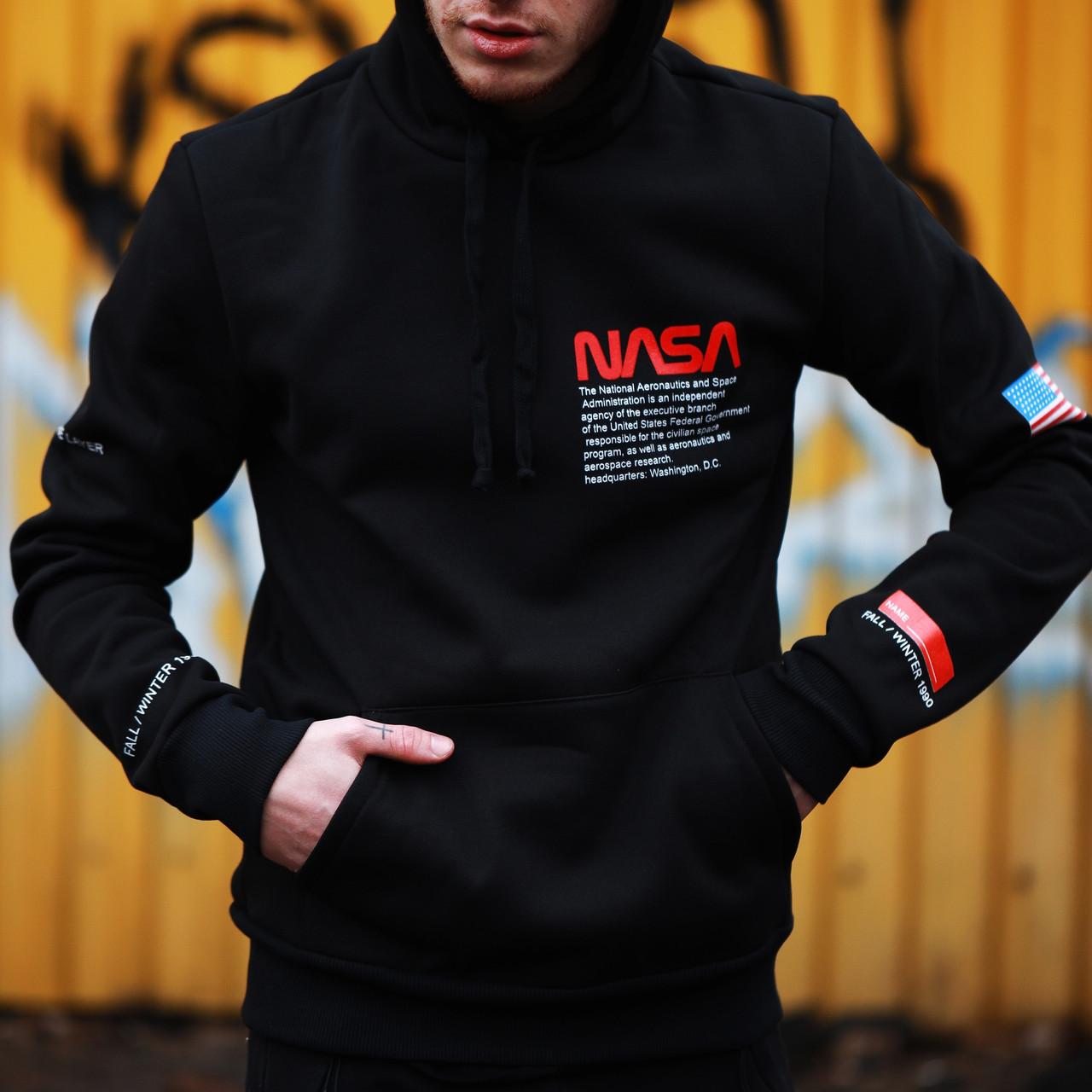 Мужской черный свитшот Nasa