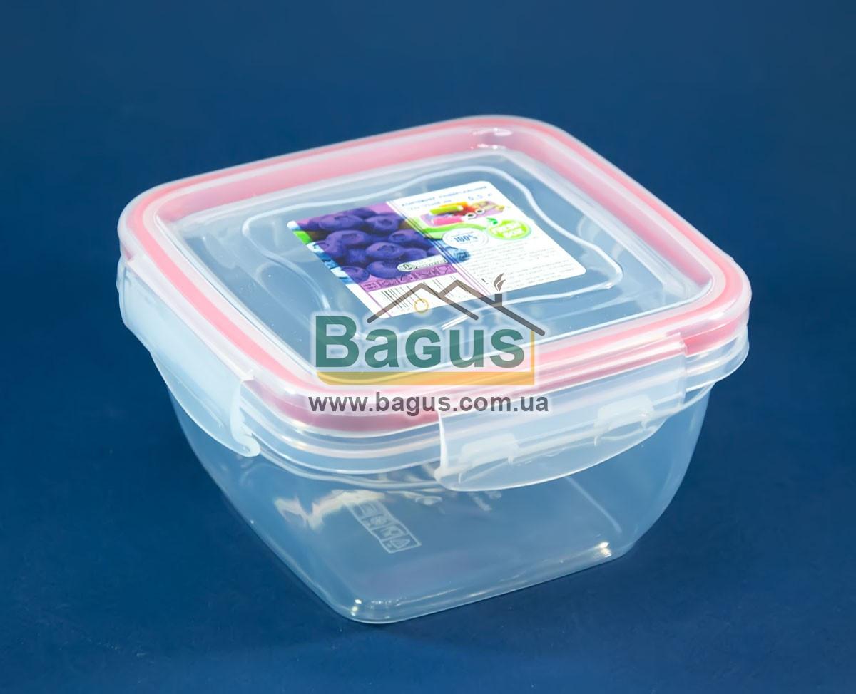 Ємність (відро) харчова 0,5 л 12,3х12,3х6,8см пластикова (кришкою з затискачами) Fresh Box Квадратний Ал-Пластик
