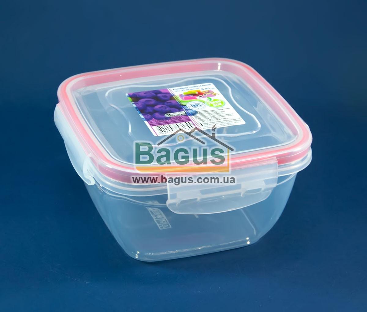 Емкость (судок) пищевая 0,9л 14х14х8см пластиковая (крышкой с зажимами) Fresh Box Квадратный Ал-Пластик