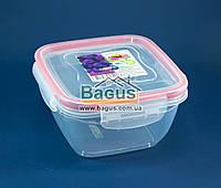 Емкость (судок) пищевая 0,9л 14х14х8см пластиковая (крышкой с зажимами) Fresh Box Квадратный Ал-Пластик, фото 1