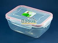 Емкость (судок) пищевая 2,3л 23,4х17х10см пластиковая, крышка с зажимами Fresh Box Прямоугольный Ал-Пластик, фото 1