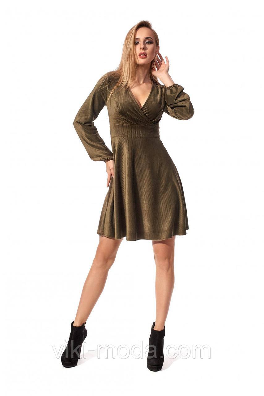 Платье женское длиной выше колена из вельвета, цвет хакки, р.42, 44, 46, 48, 50