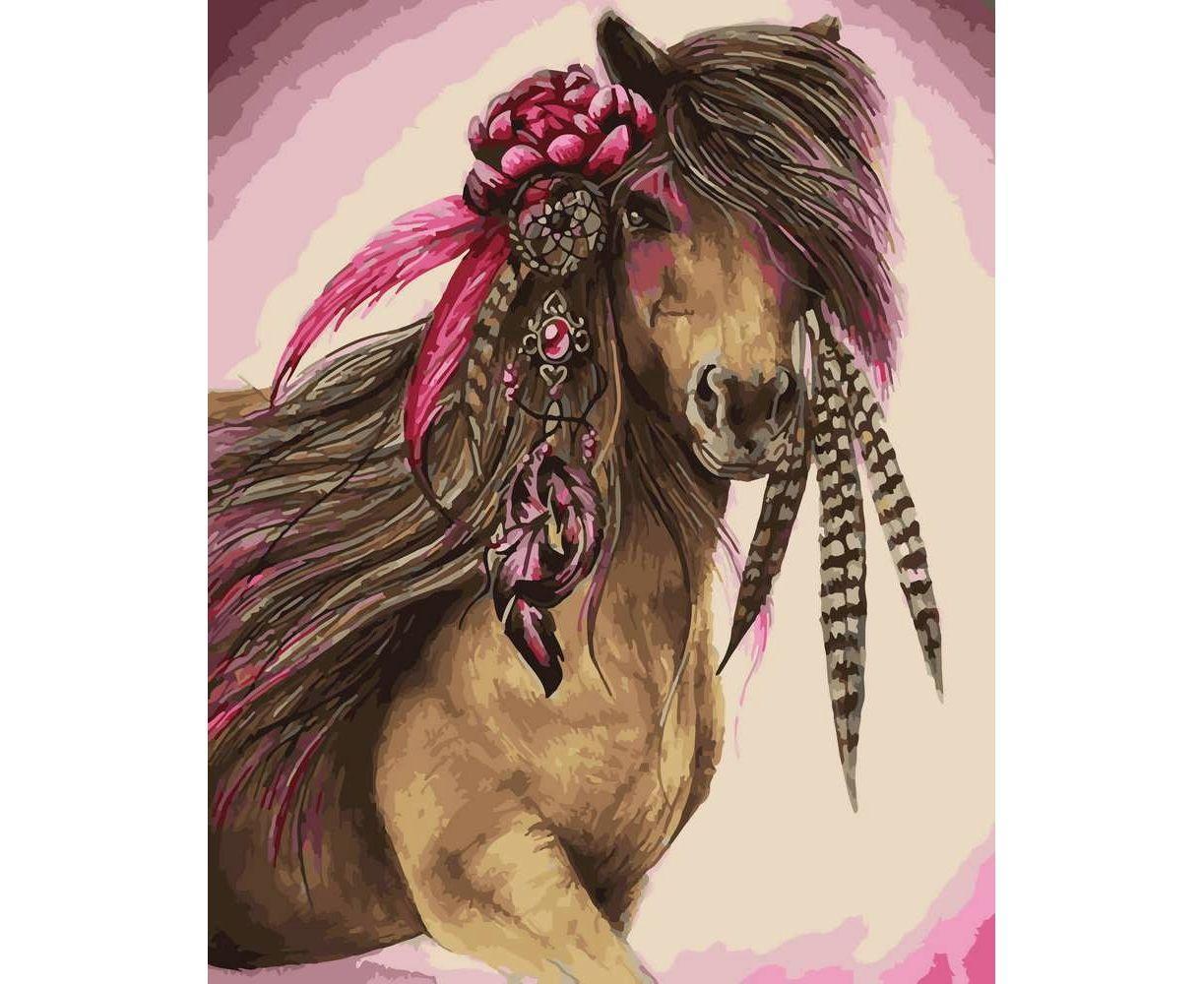 Картина по номерам Лошадь в цветах 28154 40*50