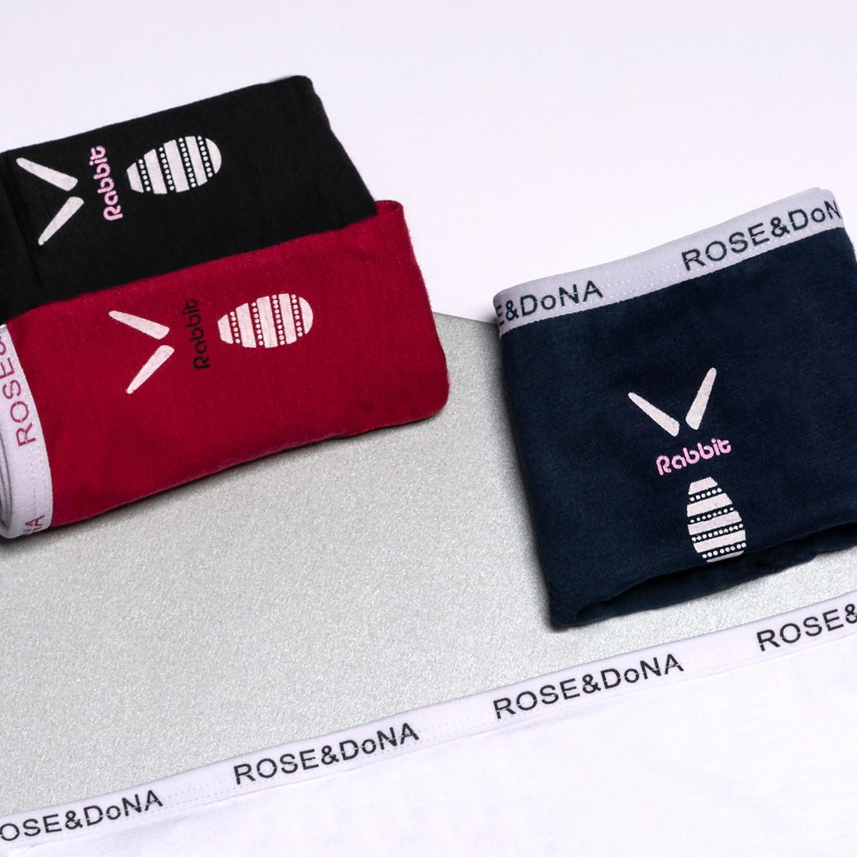 Трусики - слипы ROSE&DONA хлопок с надписью на резинке и принтом