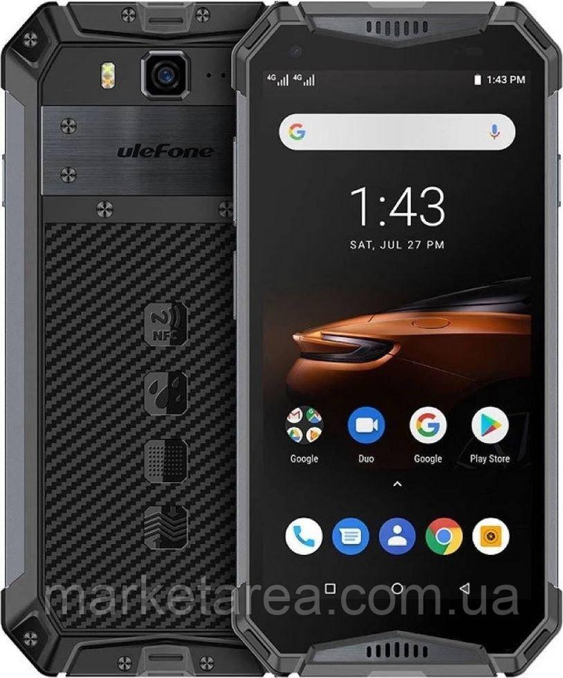 Смартфон водозащищенный, не убиваемый с мощной батареей 10300 мАч на 2 симки UleFone Armor 3W black 6/64 NFC