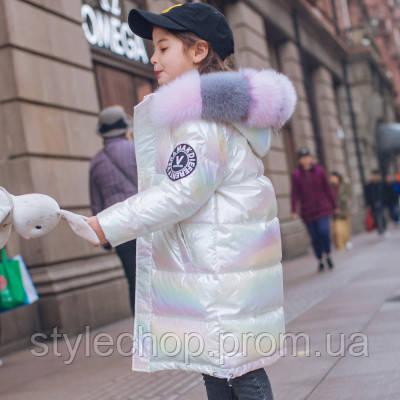 Пуховик для девочек зимний перламутровый