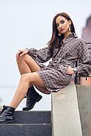 Платье - рубашка в клетку, романтического стиля, длиной до колена, р.42, 44, 46, 48