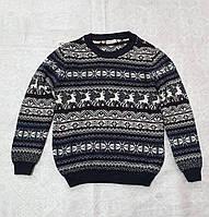 Вязаный свитер детский с оленями на мальчиков 6-12 лет Синий