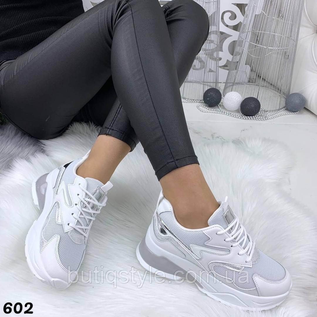 Женские кроссовки белые с серебром эко-кожа + обувной текстиль
