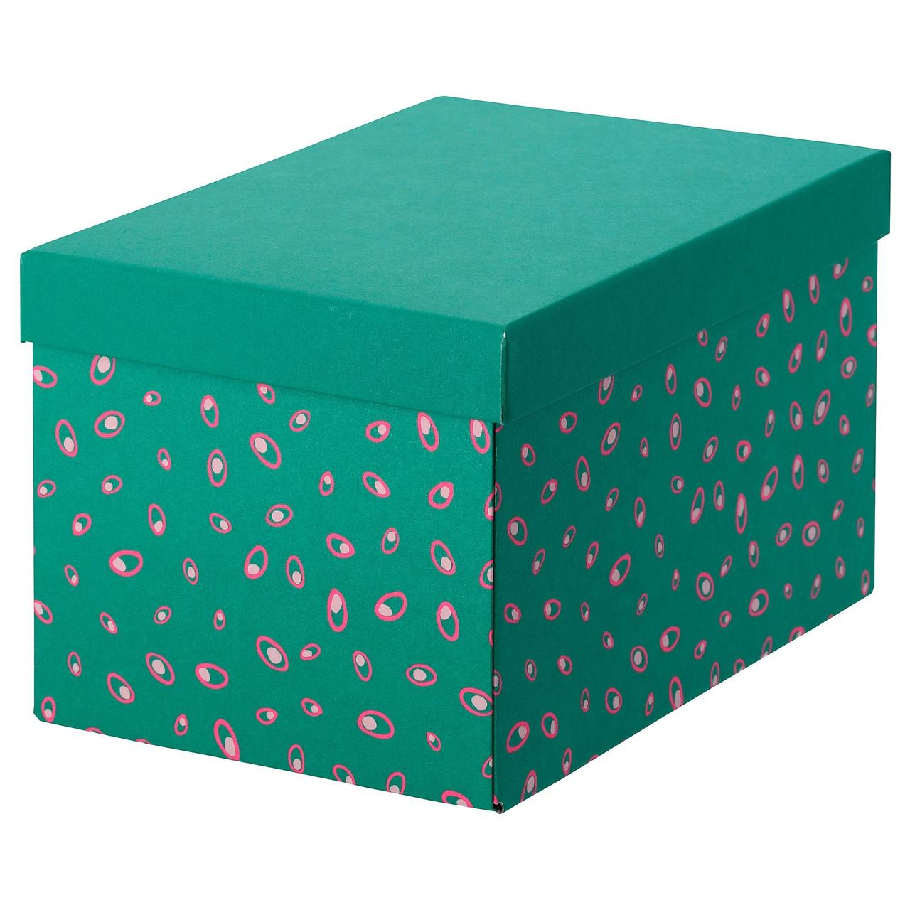 Коробка с крышкой IKEA TJENA 18x25x15 см зеленый точечный 304.340.54