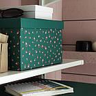 Коробка с крышкой IKEA TJENA 18x25x15 см зеленый точечный 304.340.54, фото 3