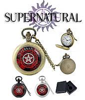 Карманные часы пентаграмма на красном Сверхъестественное / Supernatural