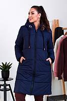 """Стеганое женское пальто на меху """"Канада"""" с капюшоном (большие размеры)"""