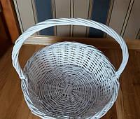 Подарочная корзина белая из лозы плетеная диаметр 38см для корпоративных подарков