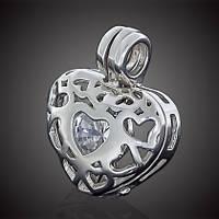 Срібна підвіска шарм Серце з білим і малиновим кубічним цирконієм