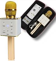 Беспроводной караоке микрофон Q7 Bluetooth GOLD