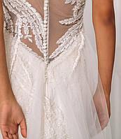 Классическое свадебное платье с кружевом и вышивкой бисером, фото 5