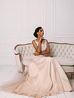 Свадебное розовое платье с белым кружевом на сетке, фото 2