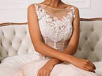 Свадебное розовое платье с белым кружевом на сетке, фото 3