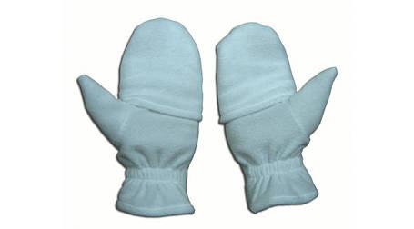 Перчатки из полар-флиса с откидной варежкой белые S, фото 2