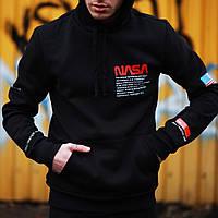 ЛЮКС! Кофта мужская зимняя Nasa USA flag X-black | худи с капюшоном