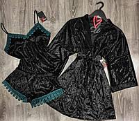 Черный велюровый комплект тройка с синим кружевом.