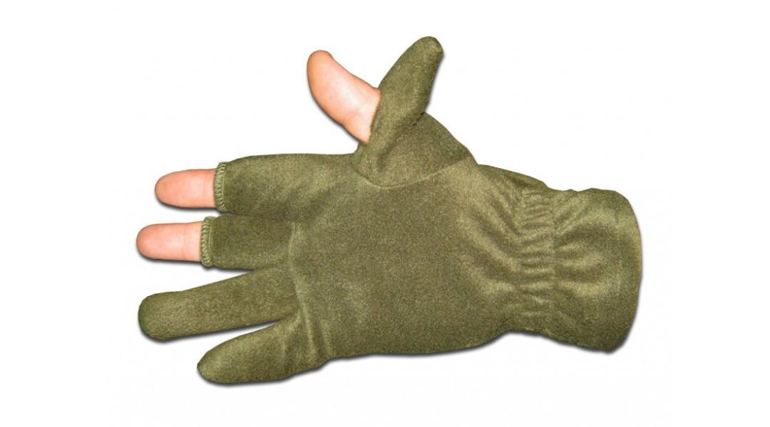 Перчатки из полар-флиса с откидной варежкой хаки XL