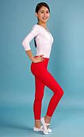 Детские лосины для гимнастики и танцев цвет Красный бифлекс рост до 155 см