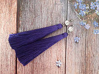 Цирконы - серьги с кистями, фиолет