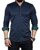Мужская стильная приталенная рубашка с длинным рукавом-трансформер
