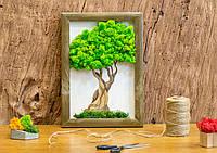 Картина декоративная  натуральным мхом, Дерево. Размер А3