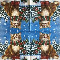 "Салфетка декупажная 33x33 см 28 ""Котик кот зима снег елка шарф Рождество"" Серветка для декупажу Новорічна"