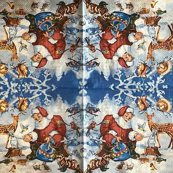 "Салфетка декупажная 33x33 см 28 ""Санта Клаус Дед мороз Подарки Рождество"" Серветка для декупажу Новорічна"