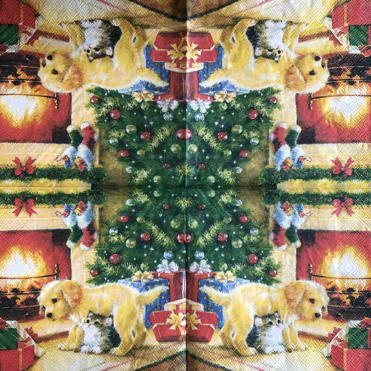 "Салфетка декупажная 33x33 см 28 ""Елочка собачка котик Подарки Рождество"" Серветка для декупажу Новорічна"