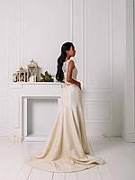 Свадебное гипюровое приталенное платье с цветком, фото 4