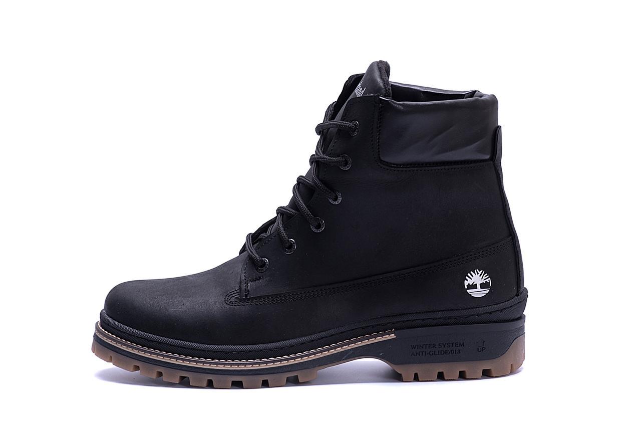 Купить Мужские зимние кожаные ботинки Timberlend Crazy Shoes Black (реплика)
