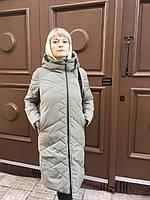 Женский зимний пуховик парка куртка одеяло легкая тёплая длинная молодежная хаки с капюшоном кокон