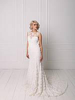 Свадебное кружевное платье с вышивкой бисером, фото 4
