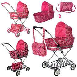 Детская коляска для кукол 9325 складная металлическая розовая