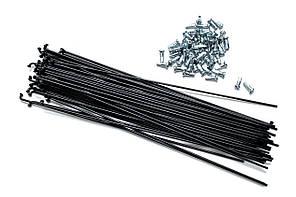 Спицы для велосипеда, 233 мм, 14G, с ниппелями, черные (72 шт)