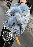 Натуральный мех лисы Женская джинсовая куртка хлопок, фото 2