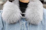 Натуральный мех лисы Женская джинсовая куртка хлопок, фото 8