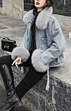 Натуральный мех лисы Женская джинсовая куртка хлопок, фото 6