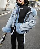 Натуральный мех лисы Женская джинсовая куртка хлопок, фото 4