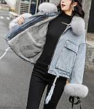 Натуральный мех лисы Женская джинсовая куртка хлопок, фото 3