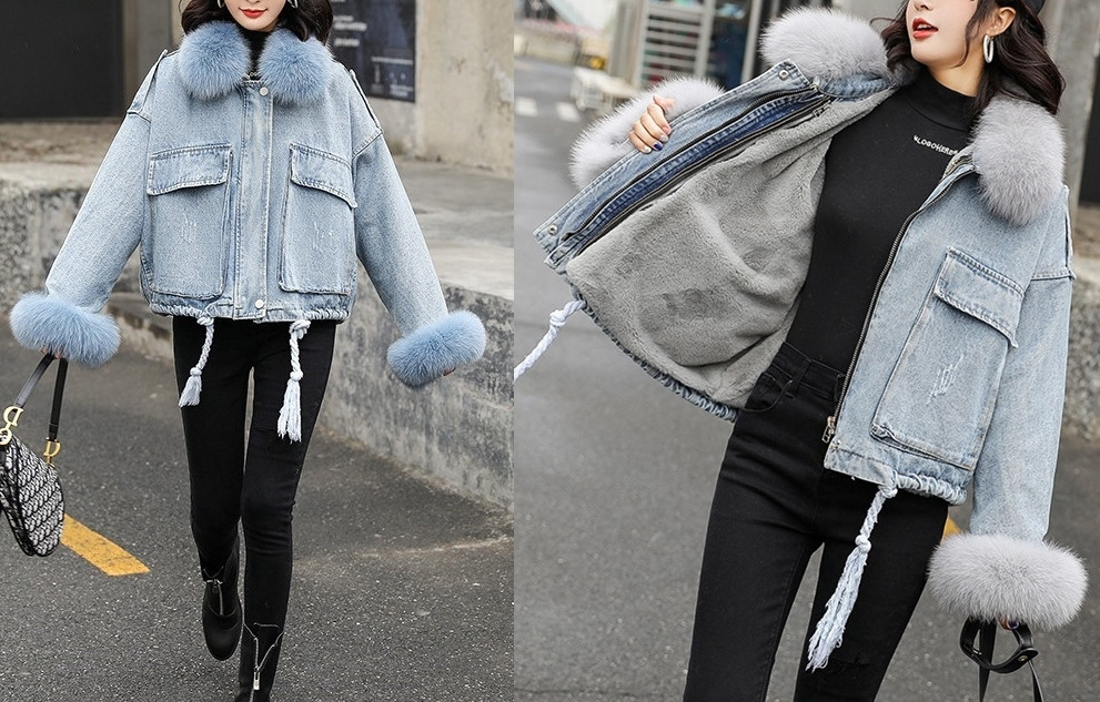 Натуральный мех лисы Женская джинсовая куртка хлопок