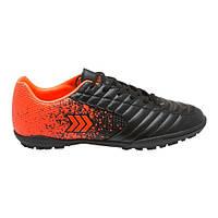 Сороконожки для футбола Restime подростковые черные с оранжевым, размеры в наличии ► [ 36 37 38 39 40 41 ]
